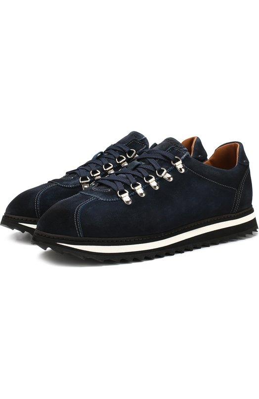 Купить Замшевые кроссовки на шнуровке Doucal's, DU2156WINNUF089NA03, Италия, Синий, Подошва-резина: 100%; Подкладка-кожа: 100%; Кожа: 100%;
