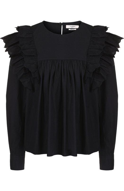 Купить Хлопковая блуза свободного кроя с оборками Isabel Marant Etoile, HT1226-18A017E/MATIAS, Индия, Черный, Хлопок: 100%;