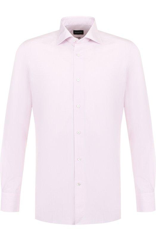 Купить Хлопковая сорочка с воротником кент Ermenegildo Zegna, 401231/9MS0BR, Румыния, Розовый, Хлопок: 100%;