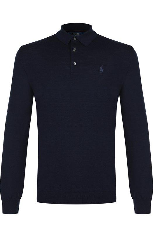 Купить Шерстяное поло с длинными рукавами Polo Ralph Lauren, 710716489, Китай, Темно-синий, Шерсть: 100%;
