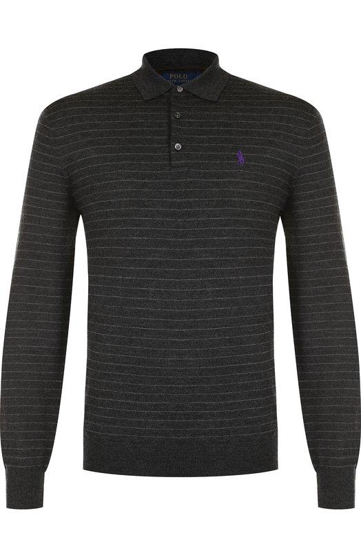 Купить Шерстяное поло с длинными рукавами Polo Ralph Lauren, 710716738, Китай, Темно-серый, Шерсть: 100%;
