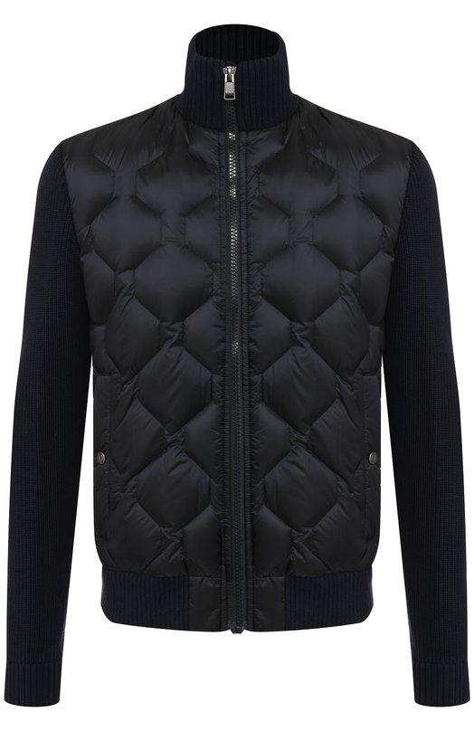 Купить Стеганая куртка на молнии с воротником-стойкой BOSS, 50393889, Индонезия, Темно-синий, Акрил: 100%;