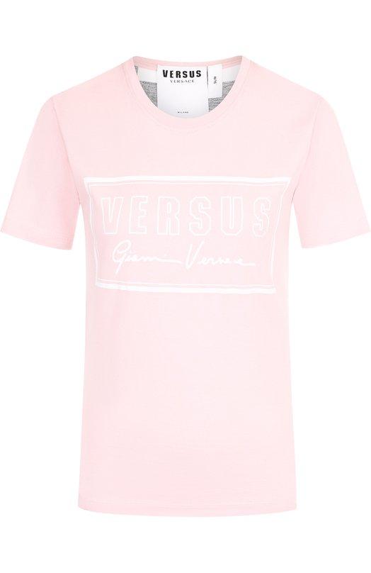 Купить Хлопковая футболка с круглым вырезом и логотипом бренда Versus Versace, BD90627/BJ10388, Португалия, Розовый, Хлопок: 100%;