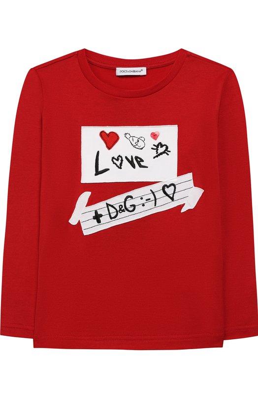 Купить Хлопковый лонгслив с аппликацией Dolce & Gabbana, L5JTAY/G70K0/2-6, Италия, Красный, Хлопок: 100%;