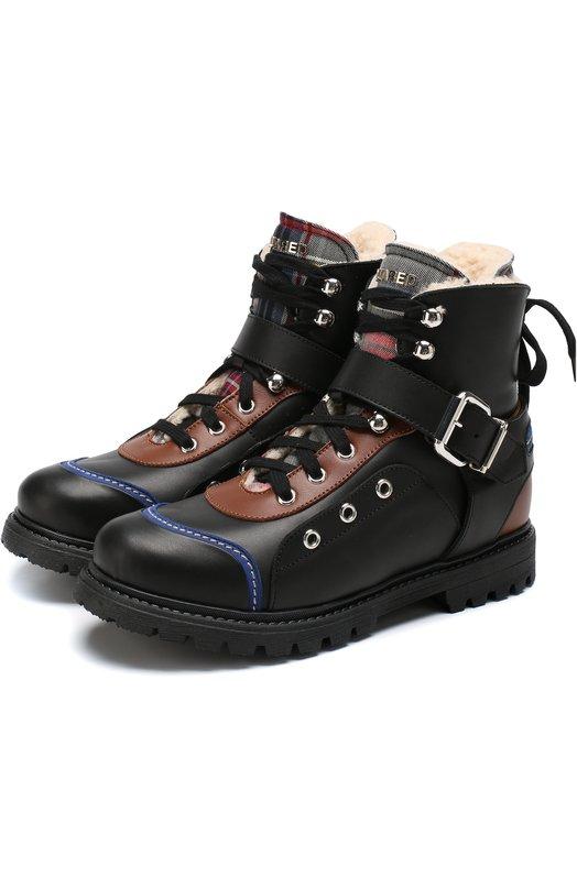 Купить Кожаные ботинки на шнуровке с внутренней меховой отделкой Dsquared2, 57200/36-41, Италия, Черный, Кожа: 70%; Текстиль: 30%; Подкладка-мех/овчина/: 100%; Подошва-резина: 100%;