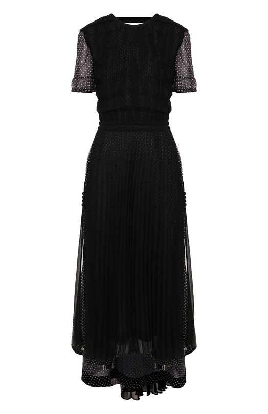 Купить Приталенное платье-миди со складками и принтом Loewe, S2286310FA, Италия, Черный, Полиэстер: 100%;