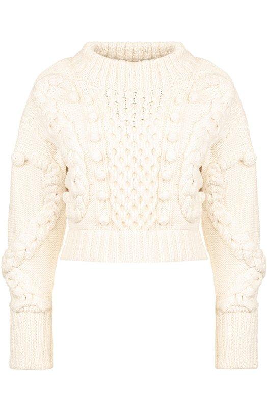 Укороченный шерстяной пуловер фактурной вязки Oscar de la Renta