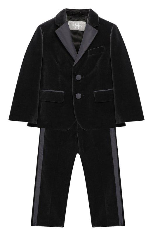 Купить Бархатный костюм из пиджака и брюк Il Gufo, A18TX004V0001/5A-8A, Италия, Серый, Хлопок: 100%;
