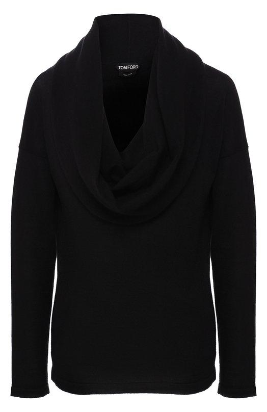 Купить Однотонный кашемировый пуловер с объемным воротником Tom Ford, MAK828-YAX087, Италия, Черный, Кашемир: 100%;