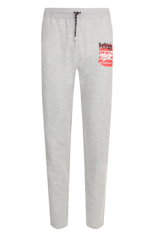 Купить Хлопковые брюки прямого кроя с поясом на резинке Burberry, 8001296, Китай, Серый, Хлопок: 100%;