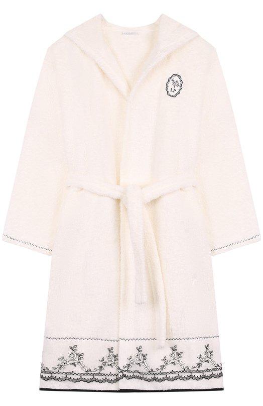 Купить Хлопковый халат с капюшоном La Perla, 54780/2A-6A, Италия, Бежевый, Хлопок: 100%;
