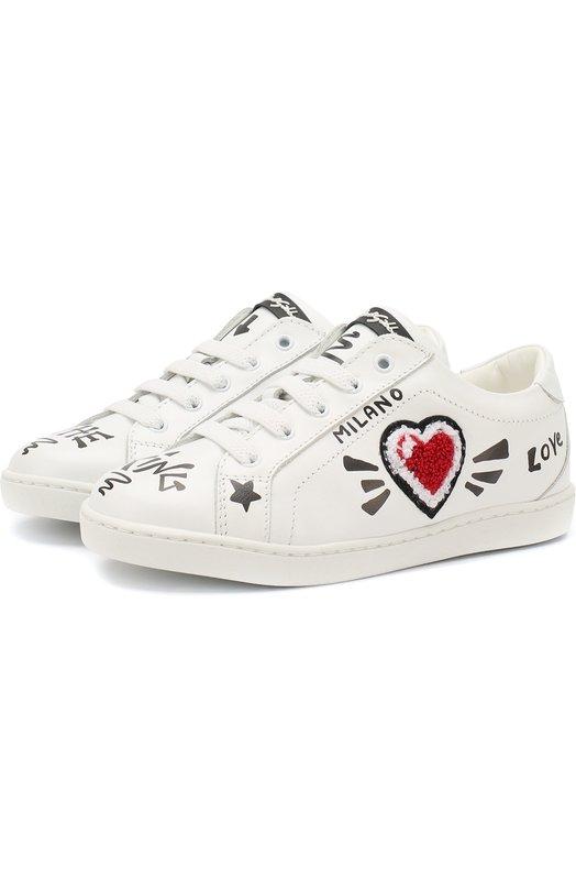 Купить Кожаные кеды на шнуровке Dolce & Gabbana, DA0663/A1172/29-36, Италия, Белый, Подошва-резина: 100%; Подкладка-кожа: 100%; Кожа: 100%;