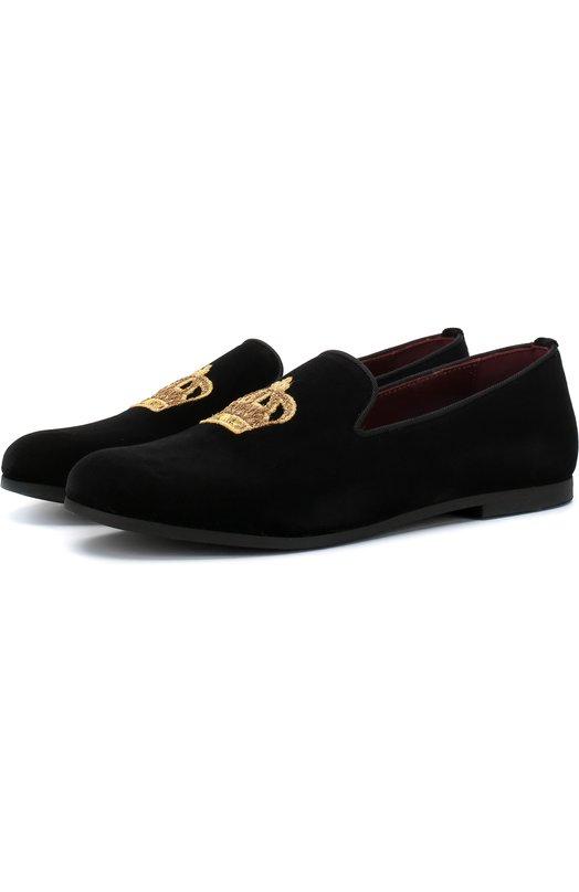 Купить Текстильные слиперы с вышивкой Dolce & Gabbana, DA0297/AE173/24-28, Италия, Черный, Подкладка-шелк: 8%; Подкладка-кожа: 73%; Подкладка-вискоза: 19%; Хлопок: 100%; Подошва-резина: 100%;