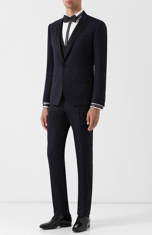 Купить Шерстяной смокинг-тройка с шелковыми лацканами Dolce & Gabbana, GK1EMT/FU3N7, Италия, Темно-синий, Шерсть: 86%; Полиэстер: 2%; Шелк: 12%;