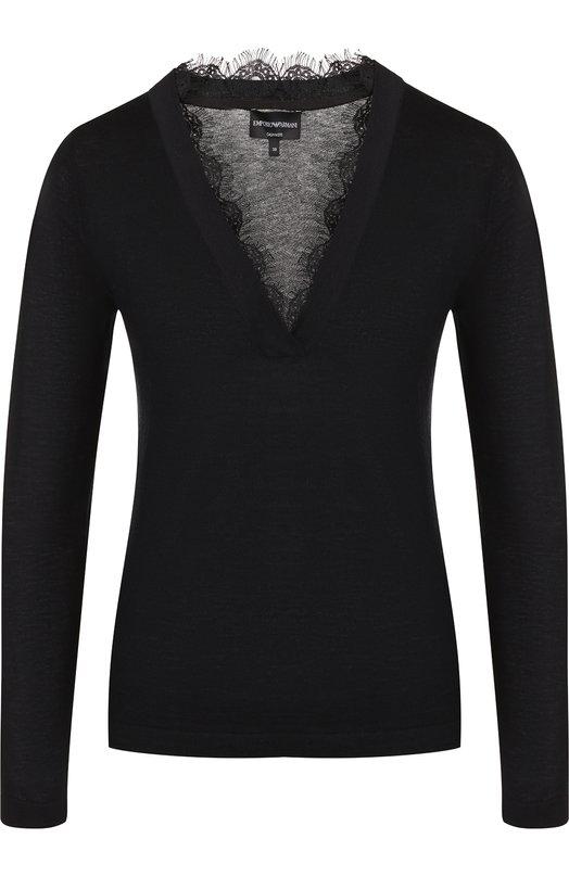 Купить Кашемировый пуловер с V-образным вырезом и кружевной отделкой Emporio Armani, 6Z2MVD/2M09Z, Китай, Черный, Кашемир: 100%;