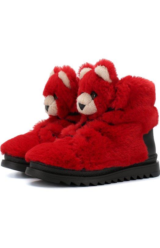 Купить Утепленные ботинки на шнуровке с декором Dolce & Gabbana, DA0665/AU727/29-36, Италия, Красный, Подкладка-текстиль: 75%; Акрил: 69%; Подкладка-кожа: 25%; Кожа: 19%; Полиэстер: 12%; Подошва-резина: 100%; Подкладка-мех натуральный: 100%;
