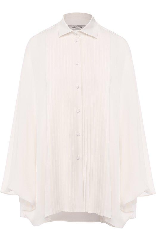 Купить Однотонная шелковая блуза свободного кроя Valentino, QB3AB12A1MH, Италия, Кремовый, Шелк: 100%;