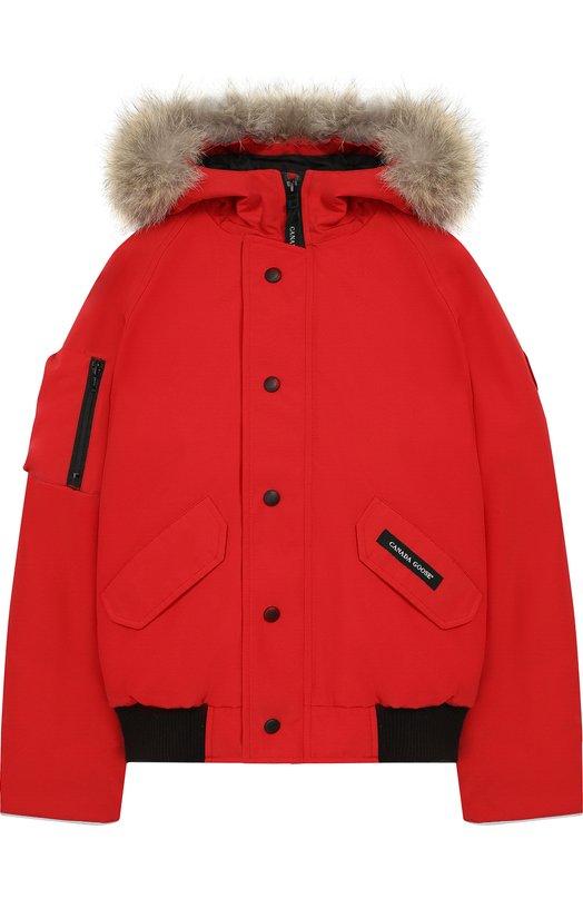 Купить Пуховая куртка Rundle с меховой отделкой на капюшоне Canada Goose, 7995Y, Канада, Красный, Полиэстер: 85%; Хлопок: 15%; Отделка мех./койот/: 100%;