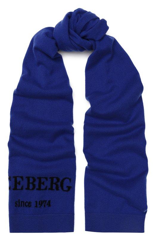 Кашемировый шарф с логотипом бренда Iceberg