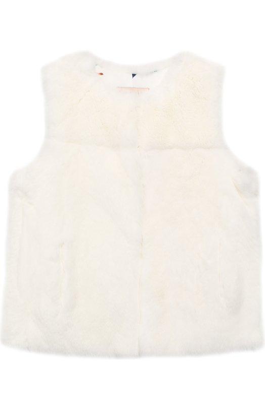 Купить 9WEG301XXREXX/4-6, Меховой жилет Yves Salomon Enfant, Франция, Белый, Мех/кролик/: 100%; Мех/кролик-рекс/: 100%; Подкладка-полиэстер: 100%;, Женский, Верхняя одежда