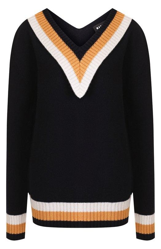 Купить Шерстяной пуловер с V-образным вырезом и контрастной вышивкой Markus Lupfer, KN2386, Италия, Разноцветный, Шерсть: 100%;