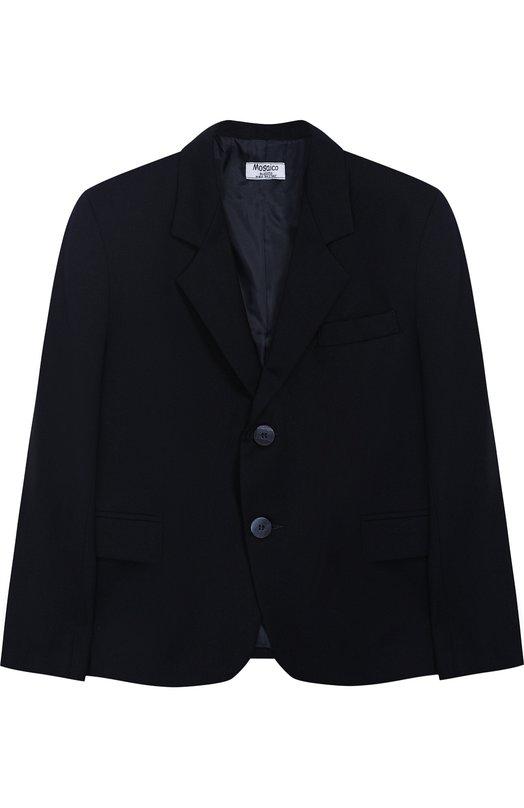 Купить Однотонный пиджак на двух пуговицах Aletta, AMC888642N/4A-8A, Италия, Темно-синий, Полиэстер: 52%; Вискоза: 44%; Эластан: 4%;