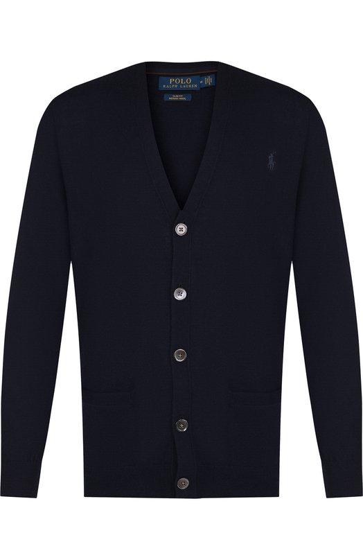 Купить Шерстяной кардиган на пуговицах с V-образным вырезом Polo Ralph Lauren, 710722672, Китай, Темно-синий, Шерсть: 100%;