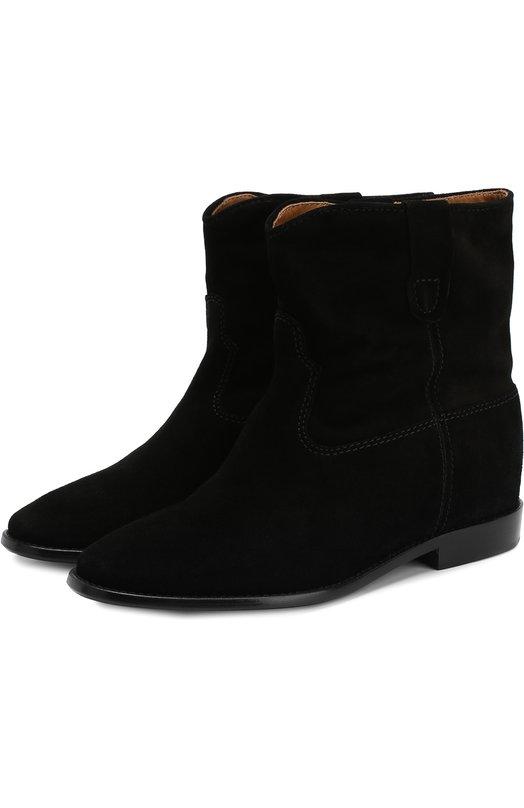 Купить Замшевые ботинки с широким голенищем Isabel Marant, CRISI/B00103-00M103S, Португалия, Черный, Стелька-кожа: 100%; Подошва-кожа: 100%; Подошва-резина: 100%; Замша натуральная: 100%; Подкладка-кожа: 100%; Кожа: 100%; Низ-кожа: 100%;