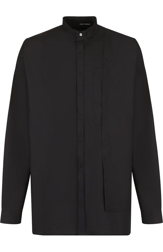 Купить Хлопковая рубашка с воротником мандарин Isabel Benenato, UW63F18, Италия, Черный, Хлопок: 100%;