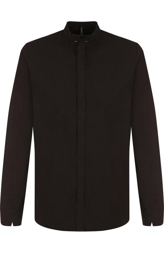 Купить Рубашка из смеси хлопка и льна с воротником мандарин Transit, CFUTRGW321, Италия, Черный, Хлопок: 93%; Лен: 5%; Эластан: 2%;