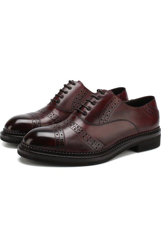Купить Кожаные оксфорды на шнуровке с брогированием Zegna Couture, A3091X-MSP, Италия, Бордовый, Подошва-Резина: 90%; Подкладка-Кожа: 100%; Кожа: 100%; Подошва-Кожа: 10%;