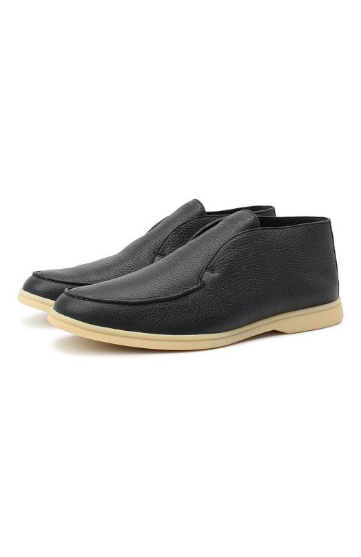 Купить Кожаные ботинки Open Walk без шнуровки с внутренней меховой отделкой Loro Piana, FAI3276, Италия, Темно-синий, Подошва-Резина: 100%; Подкладка-Мех/бобер/: 100%; Кожа: 100%; Низ-Мех/бобер/: 100%;
