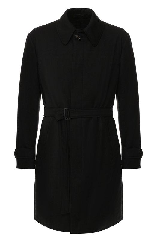 Купить Однобортное шерстяное пальто с поясом Emporio Armani, 11LCW0/01503, Болгария, Черный, Подкладка-ацетат: 65%; Подкладка-полиэстер: 35%; Шерсть: 100%;