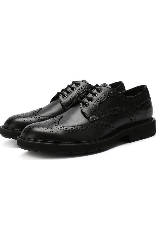 Купить Кожаные дерби на шнуровке с брогированием Tod's, XXM46A0Z430D90, Италия, Черный, Подошва-Резина: 100%; Подкладка-Кожа: 100%; Кожа: 100%;