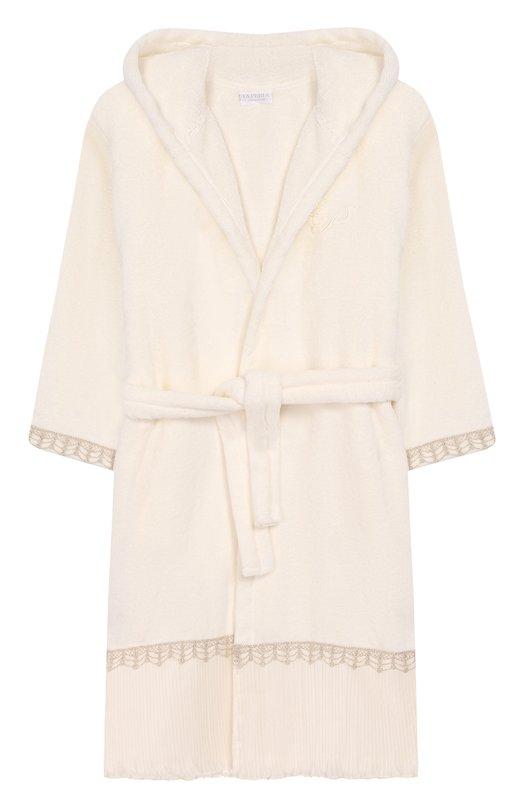 Купить Хлопковый халат с декоративной отделкой La Perla, 54830/8A-14A, Италия, Бежевый, Хлопок: 100%;