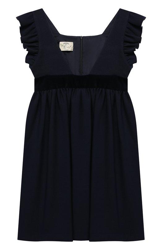 Платье с оборками и бархатной отделкой Caf