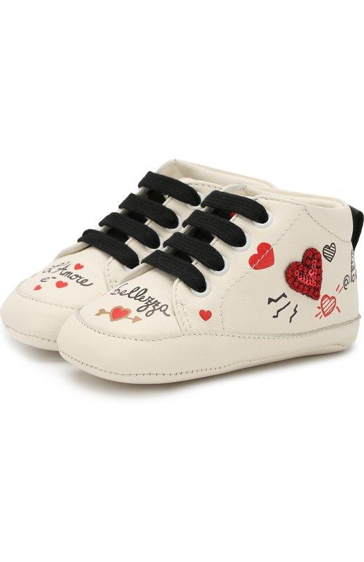 Кожаные пинетки на шнуровке Dolce & Gabbana