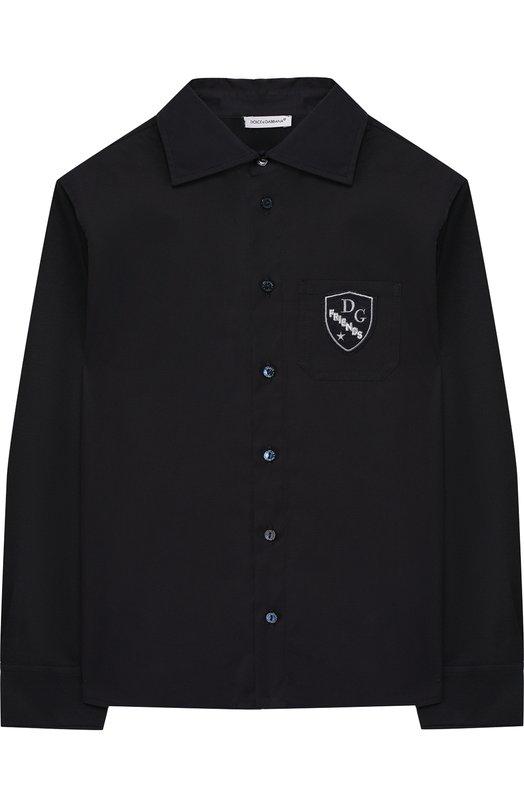 Купить Хлопковая рубашка с нашивкой Dolce & Gabbana, L4JS24/G70KK/2-6, Италия, Темно-синий, Хлопок: 97%; Эластан: 3%;