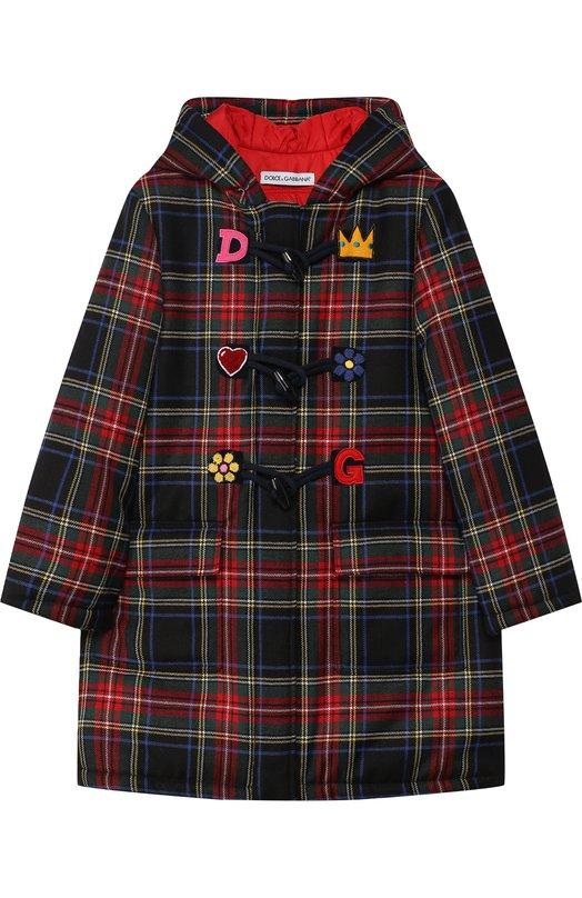 Купить Шерстяной дафлкот с капюшоном и декором Dolce & Gabbana, L53C11/FQMHA/2-6, Венгрия, Разноцветный, Шерсть: 59%; Акрил: 22%; Полиэстер: 19%; Подкладка-хлопок: 100%;