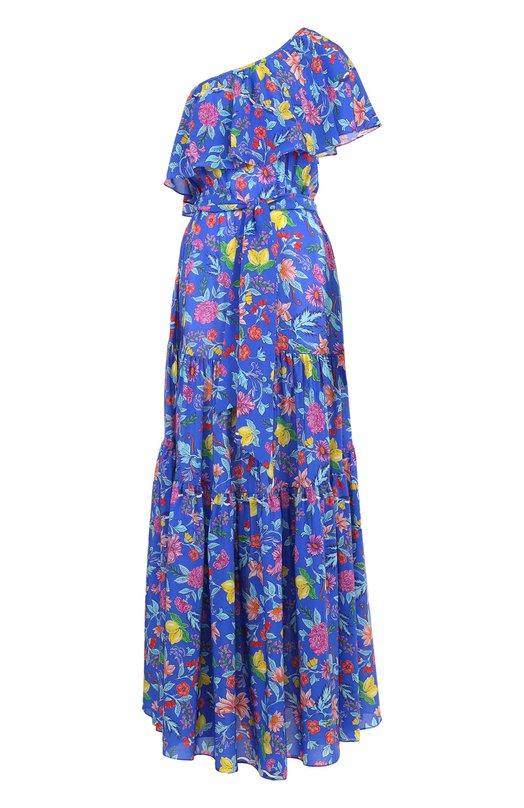 Шелковое платье-макси и поясом и оборками Lazul