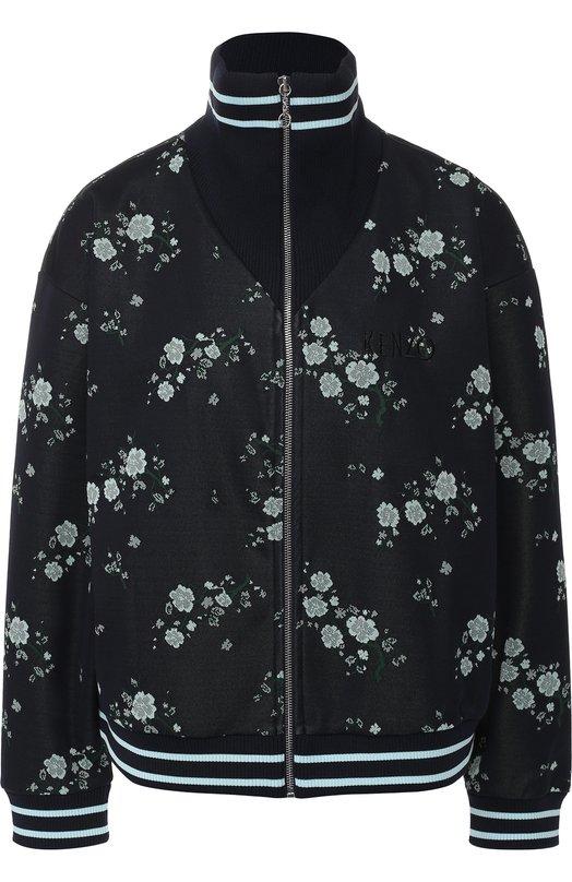 Купить Бомбер на молнии с воротником-стойкой и принтом Kenzo, 2BL747930, Португалия, Темно-синий, Полиэстер: 100%; Подкладка-текстиль: 100%;
