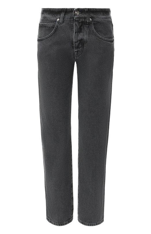 Купить Укороченные джинсы с потертостями Two Women In The World, MANU/TGDK1, Италия, Серый, Хлопок: 100%;