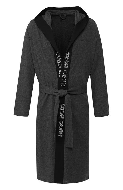 Хлопковый халат с поясом и капюшоном BOSS, 50392566, Китай, Темно-серый, Хлопок: 100%;  - купить
