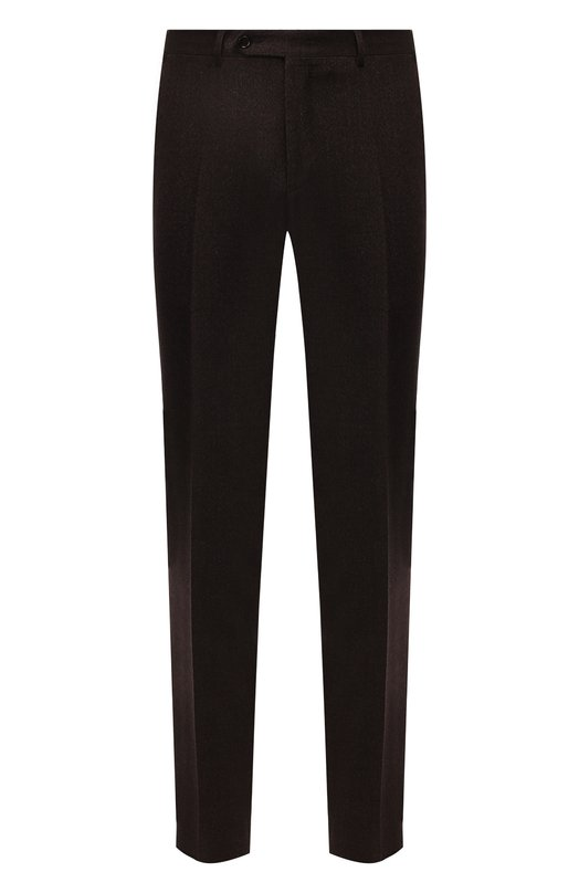 Шерстяные брюки прямого кроя Canali, 71019/AA01628, Италия, Коричневый, Шерсть: 100%;  - купить
