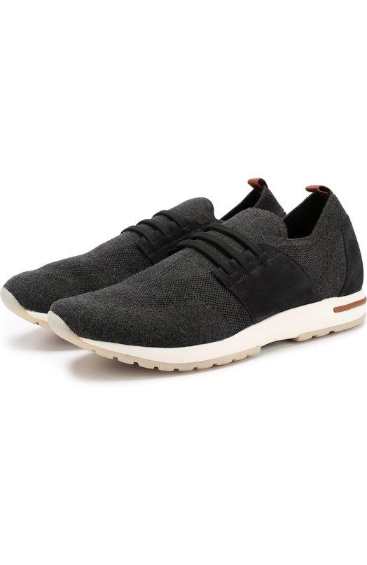 Купить Текстильные кроссовки 360 LP Flexy Walk на шнуровке Loro Piana, FAI2908, Италия, Темно-серый, Текстиль: 80%; Кожа: 20%; Подошва-Резина: 100%; Подкладка-Кожа: 100%;