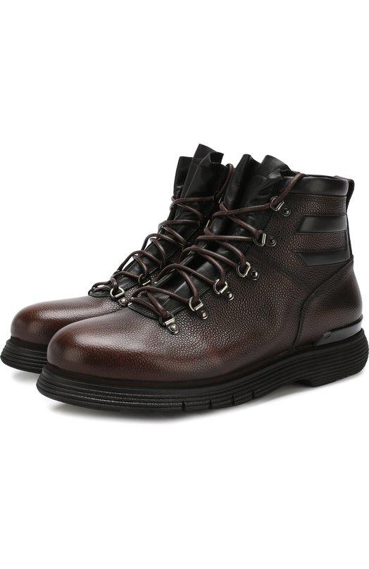 Купить Высокие кожаные ботинки на шнуровке с внутренней меховой отделкой W.Gibbs, 0260001/CHICC0 RIS0, Италия, Темно-коричневый, Кожа натуральная: 100%; Подошва-резина: 100%; Подкладка-кожа: 100%; Стелька-овчина: 100%; Подкладка-мех/овчина/: 100%; Кожа: 100%; Низ-мех/о