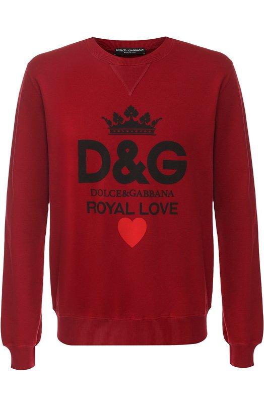 Хлопковый свитшот с принтом Dolce & Gabbana, G9MI5T/FU7DU, Италия, Красный, Хлопок: 100%;  - купить