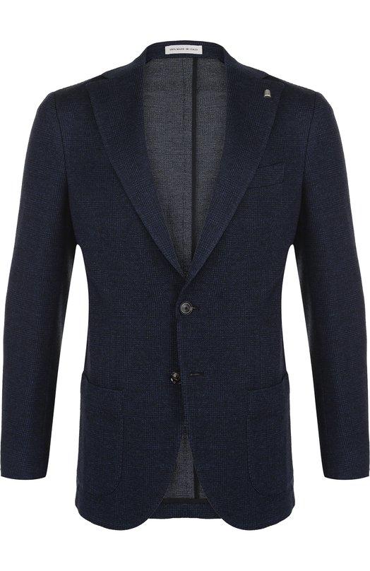 Купить Однобортный пиджак из смеси хлопка и шерсти Sartoria Latorre, C0M0 JA1032, Италия, Темно-синий, Хлопок: 51%; Шерсть: 49%;