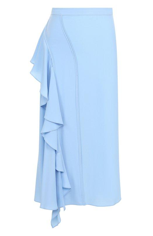 Купить Однотонная юбка-миди с оборками No. 21, 18I N2M0/C131/5111, Италия, Голубой, Ацетат: 69%; Шелк: 31%;