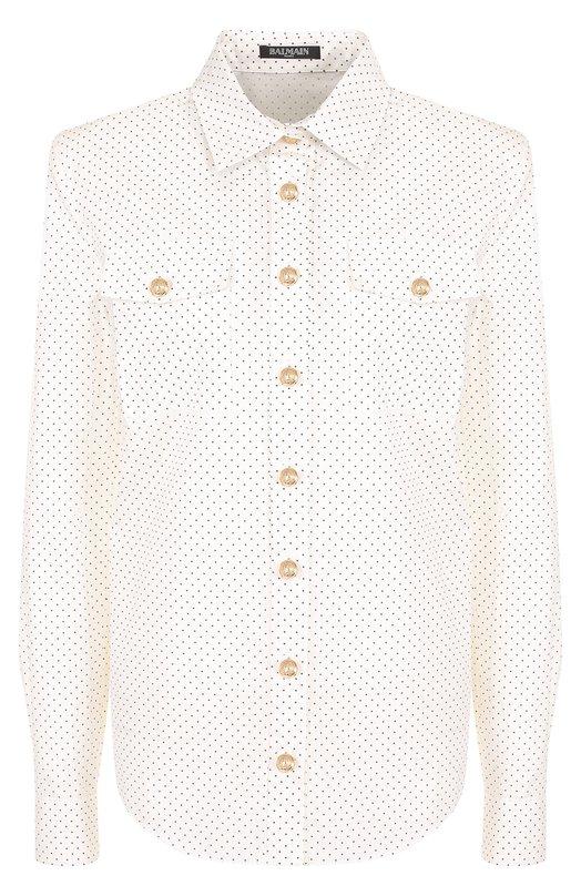 Купить Хлопковая блуза с накладными карманами Balmain, 141336/C007, Франция, Белый, Хлопок: 100%;